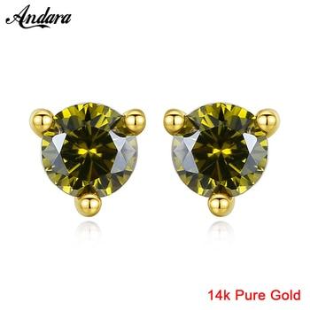14K Gold Earrings Fashion Inlaid Zircon Classic Three-Claw Stud Earrings Woman Female Fine Jewelry AU585