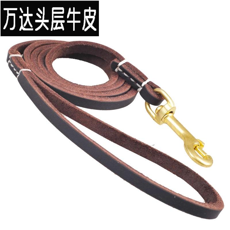 Genuine Leather Copper Hooks Distraction Dog Traction Belt Pet Medium Large Dog Golden Retriever German Shepherd Dog Hand Holdin