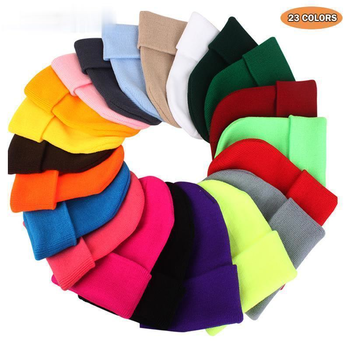 2020 Solid Color Knitted Beanies Hat Winter Warm Ski Hats Men Women Multicolor Skullies Caps Soft Elastic Cap Sport Bonnet gorro image
