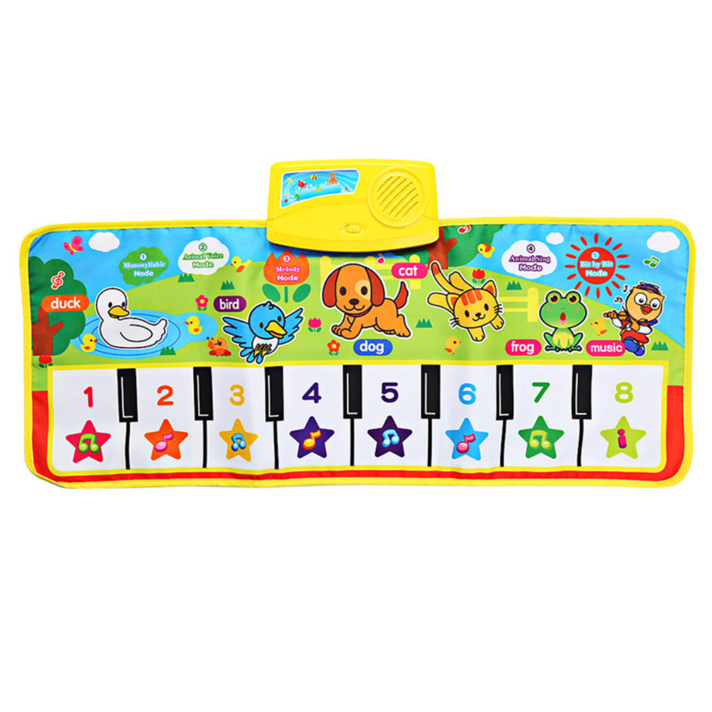 OCDAY 71X28cm Baby English Musical Piano Music Carpet Baby Kids Play Mat Blanket Educational Electronic Baby Toys Gift