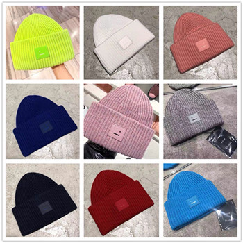 AC  Smiling face Beanie Skull Caps knitted Cashmere Eye Warm Couple Lovers Acne Hats Tide Street Hip-hop Wool Cap Adult