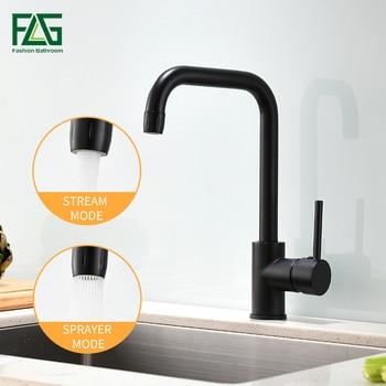 Grifo de cocina FLG negro 360 giratorio 2 funciones salida de agua grifo de latón negro mezclador de agua caliente 1097-33B