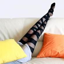 Novo verão na moda quente mulheres meias mini meninas moda sobre o joelho coxa alta elástica sexy preto cruz greve padrão de seda