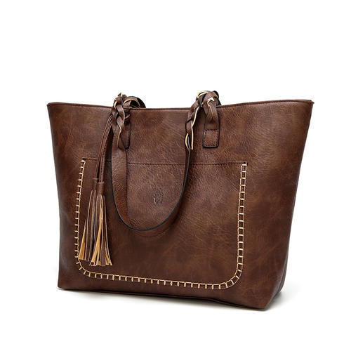 Fringed shoulder bag big bag simple pu leather large capacity handbag
