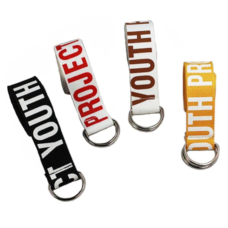 Fashion Women Men Canvas Belts Letters Printed Double D Ring Buckle Punk Waist Strap High Quality White Black Long Wide Belt 20