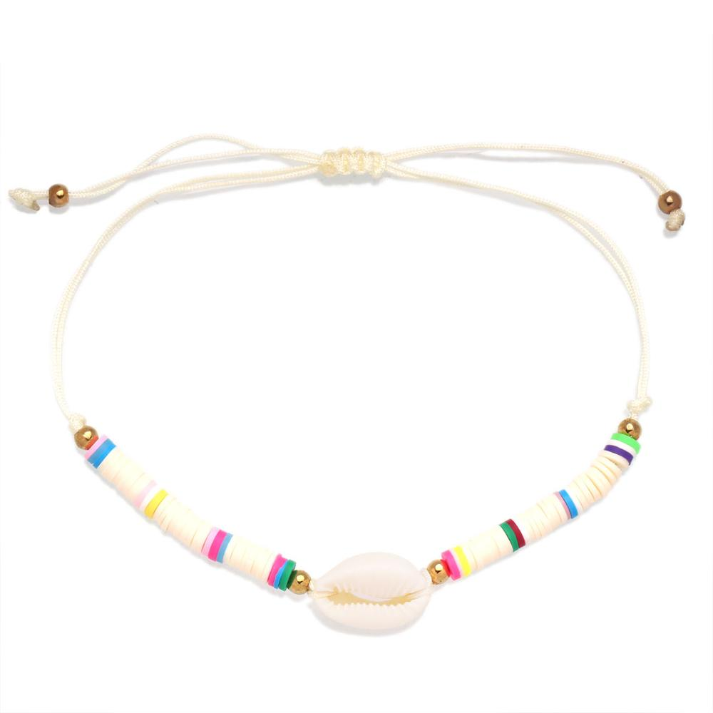 Boho Polymer Clay Heishi Beads Cowrie Seashell String Knot Adjustable Anklet Women Girl 2020 New Fashion Multicolor Surf Jewelry