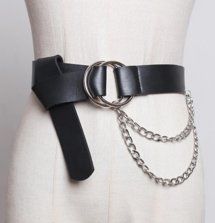 Women's Runway Fashion Chain Pu Leather Cummerbunds Female Dress Coat Corsets Waistband Belts Decoration Wide Belt R1756