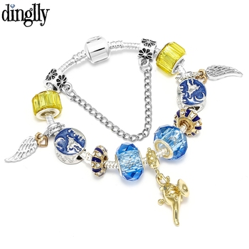 DINGLLY egzotyczny kolor magia latania dywan złoty Laddin uroku bransoletki dla mężczyzn chłopców oryginalny lue kryształowa bransoletka Bangle biżuteria