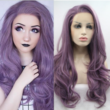 Ailiade Synthetic Lace Front Wigs for Women Mix Purple Long Wavy Free Part Soft Purple Wig Heat Resistant цена 2017