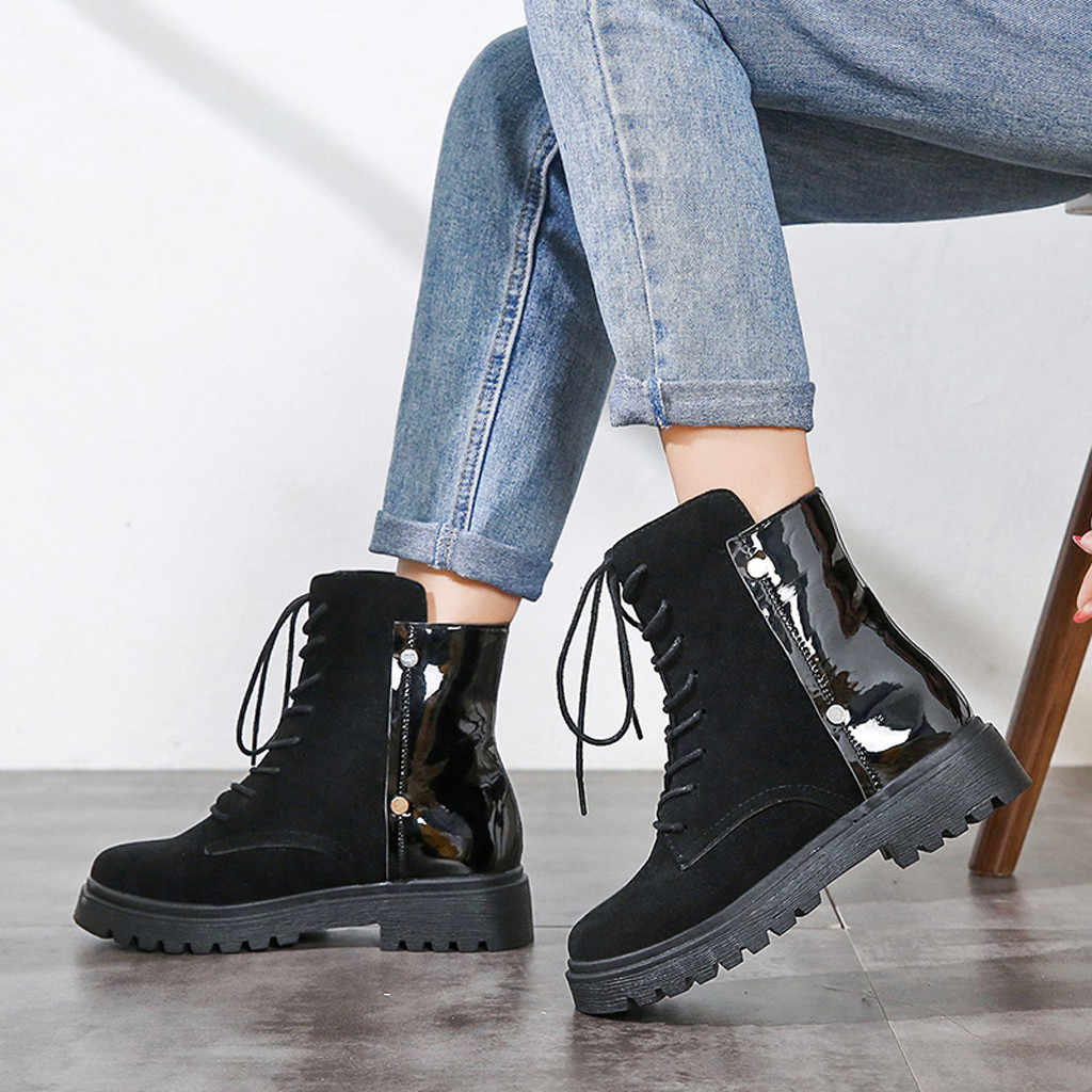 ผู้หญิง Martin Boots ฤดูหนาวสายคล้องคอ patchwork หิมะ Bootie ลูกไม้ Up อุ่นเดินป่า Snow Boots รองเท้าบูทข้อเท้าสำหรับสตรีรองเท้า