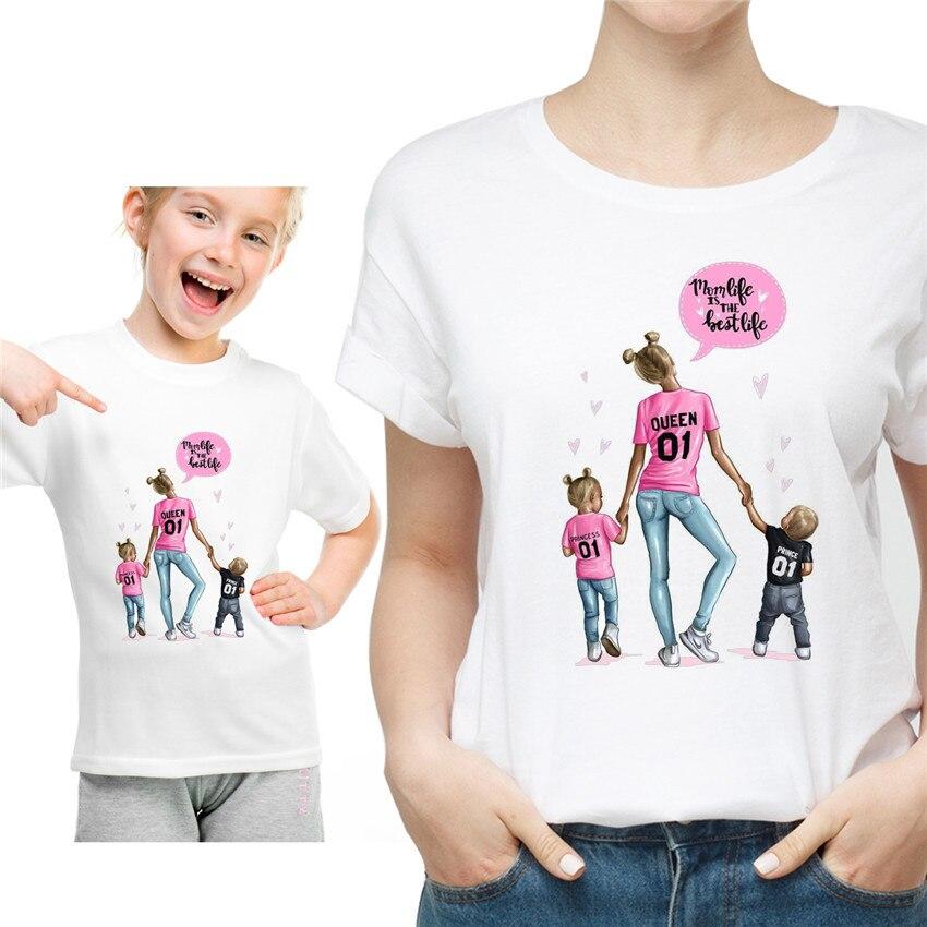 Новая семейная футболка с принтом Одежда «Мама и я» Семейные комплекты с короткими рукавами QT-1924 - Цвет: Лаванда