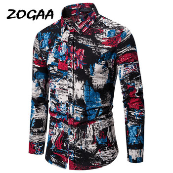 ZOGAA 2020 European and American autumn winter new code mens casual fashion long-sleeved shirt cotton linen shirts
