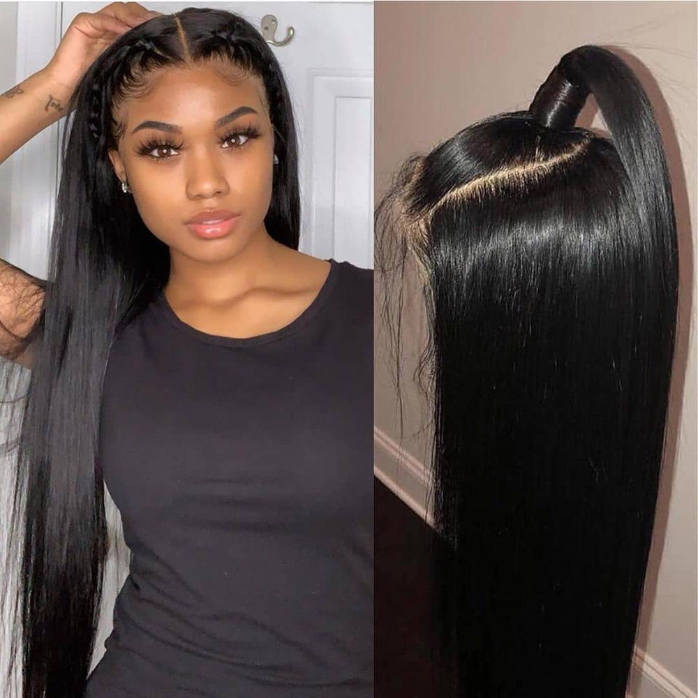 Perruque courte en dentelle avant de cheveux humains Bob perruque pour les femmes noires brésilienne droite Remy perruque de dentelle preplumée avec des cheveux de bébé 13x4 130% - 4