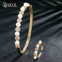 ZAKOL Vintage Cubic Zirconia Round Simulation Pearl Bride Jewelry Bracelet Ring Set for Women Wedding Dinner Party Gift FSSP3111(China)