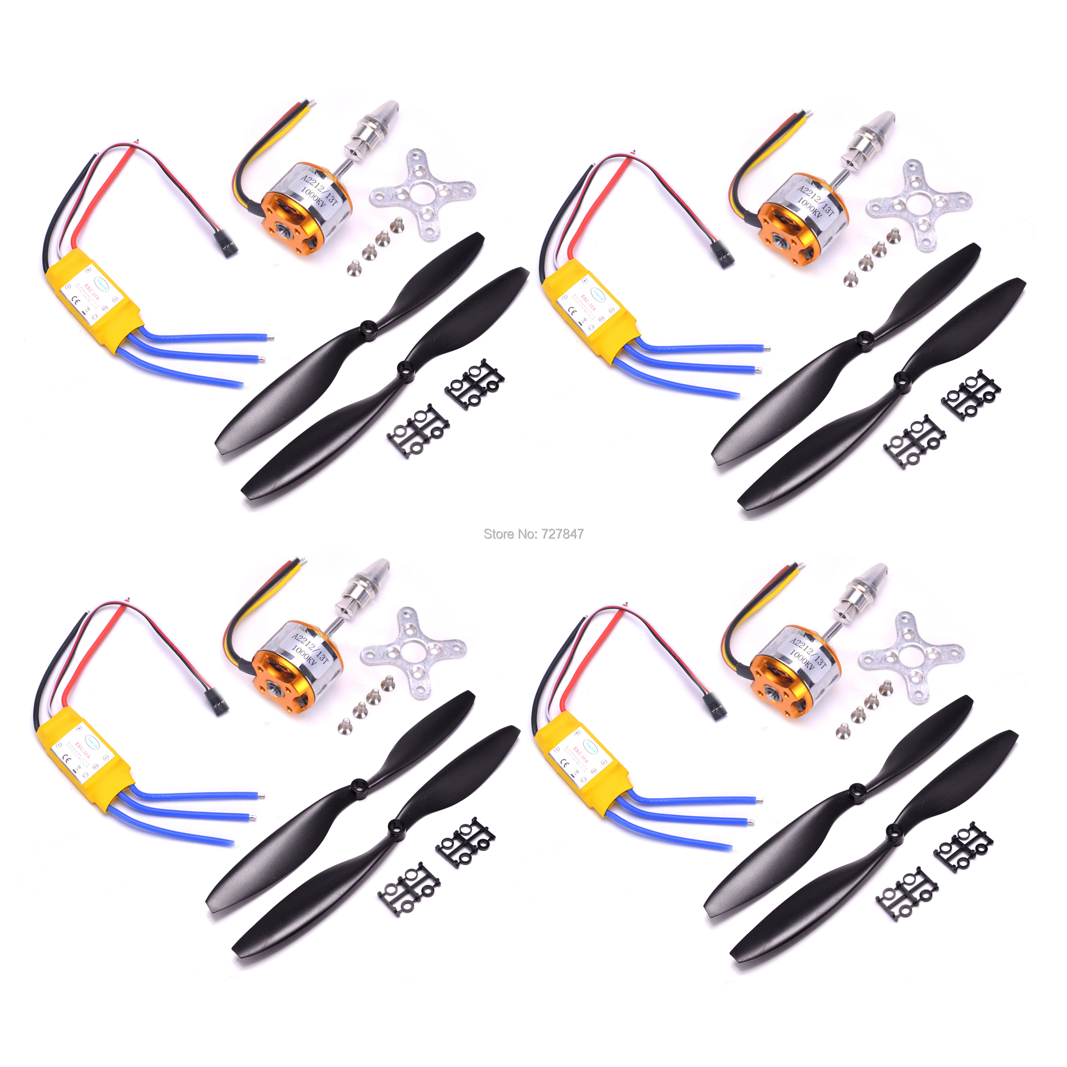 A2212 2212 1000KV / 1400KV A2208 1100KV Brushless Outrunner Motor 30A ESC 1045 Propeller Quad-Rotor For RC Aircraft Multicopter