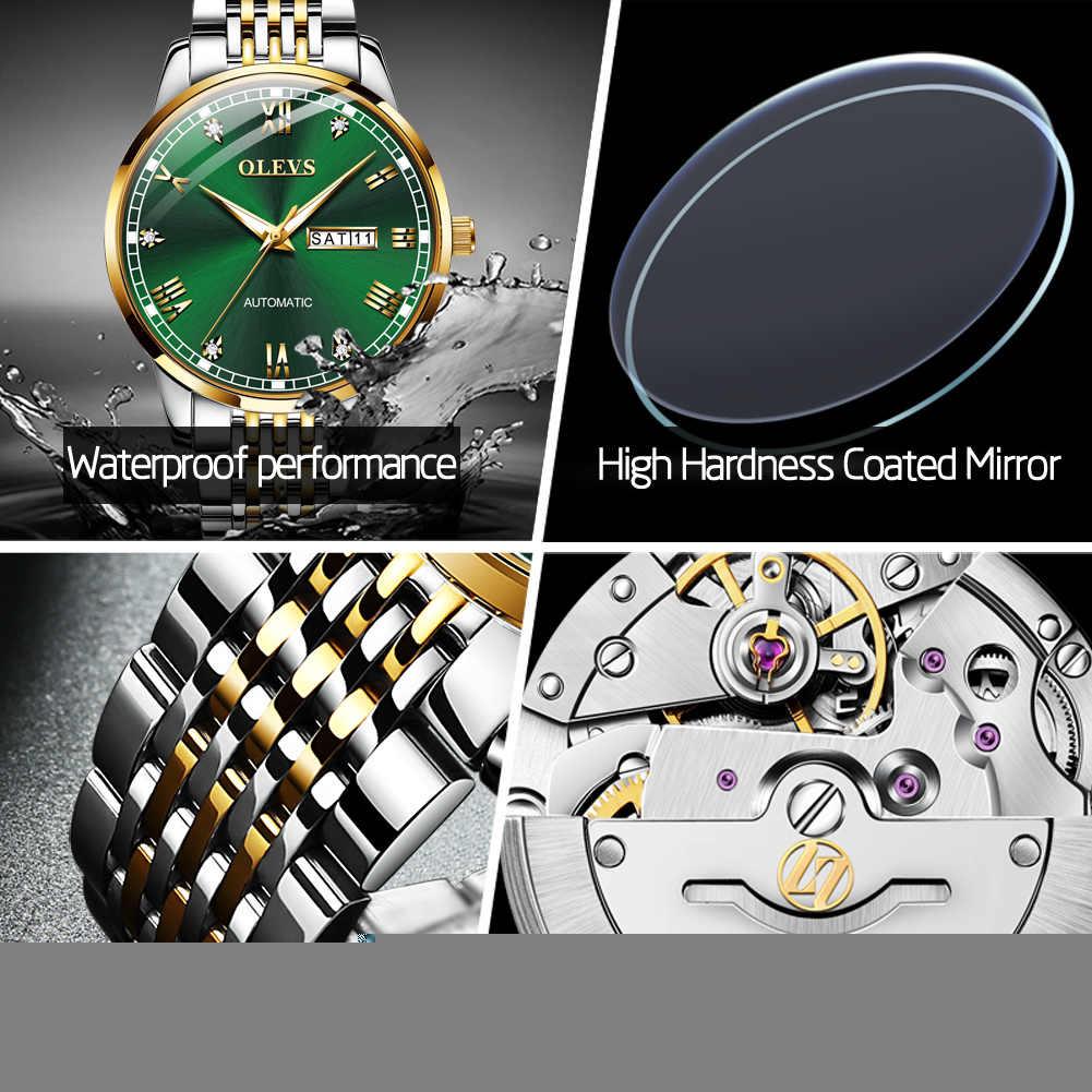 OLEVSผู้ชายอัตโนมัตินาฬิกาธุรกิจเพชรสแตนเลสแบรนด์หรูกันน้ำนาฬิกาข้อมือ