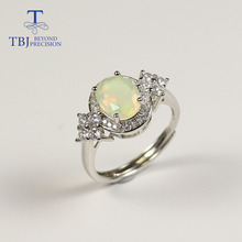 Opal ring natural good color gemstone with 925 sterling silver elegant design fine jewelry for women Wedding wear nice gift TBJ tbj feather gemstone ring with natural ethopian opal good fire in 925 sterling silver fine jewelry for girls with jewelry box