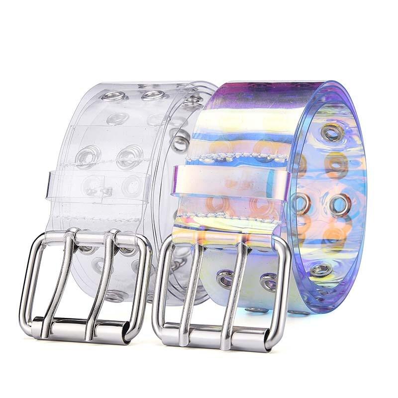 2020 New Double Grommet PVC Clear Belt For Women Fashion Pin Buckle Female Trousers Transparent Eyelet Waist Belts Ladies Jeans