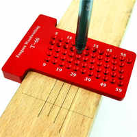 T60 Woodworking Hole Scriber Ruler Aluminum Alloy T-shaped Ruler Woodworking Mini Scriber Crossed Measuring Tools