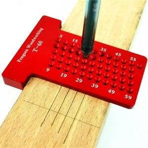 Image 1 - T60 Woodworking Hole Scriber Ruler Aluminum Alloy T shaped Ruler Woodworking Mini Scriber Crossed Measuring Tools