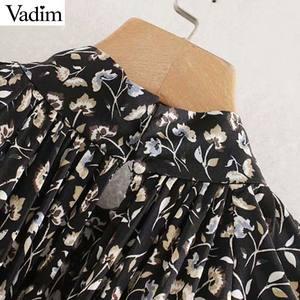 Image 3 - Vadim vrouwen elegante bloemenprint midi jurk met lange mouwen vrouwelijke toevallige rechte stijl losse jurken stijlvolle vestidos mujer QC955