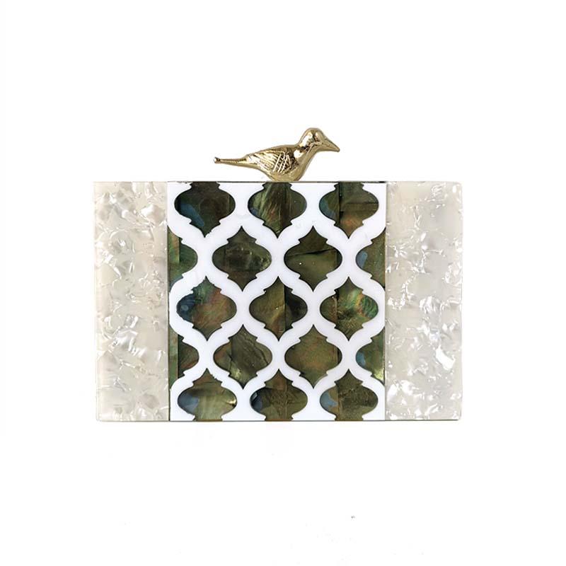 Perle blanc avec coquille matériel métal oiseau fermoir femmes marque acrylique boîte embrayages rabat épaule soirée plage voyage PVC sac à main
