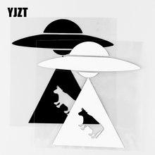 YJZT – autocollants en vinyle noir/argent, 13.5x13.7CM, ovni Alien, pour fenêtre de voiture, camion, ordinateur portable, 10A-0652