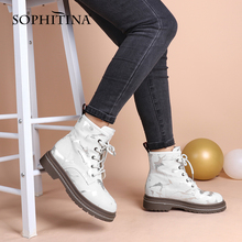 Women's Shoes Platform Ankle-Boots Real-Leather Lace-Up White Winter Fashion High-Quality
