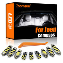 Zoomsee interior led para jeep compass 2007-2020 canbus veículo lâmpada interior dome mapa leitura luz erro livre kit de lâmpada automóvel