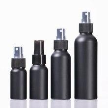 Flacon vide Portable en aluminium noir de 30 à 150ml, flacon de parfum, de Lotion, d'essence, de voyage, conteneur d'emballage pour cosmétiques