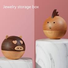 Creative Walnut Jewelry Box Cute Pig Chick Shape Wooden Box Gift Box Necklace Earrings Ring Box Jewelry Storage Box