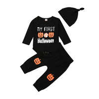 Baby First Halloween Clothes Set Infant Newborn Boy Girl Black Long Sleeve Pumpkin Outfits 3 Piece Bodysuits +Pants +Hat New