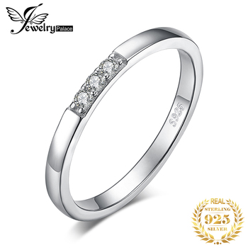 JewPalace 3 Stone Wedding Rings 925 Sterling Silver Rings for Women Stackable Anniversary Ring Eternity Band Silver 925 Jewelry