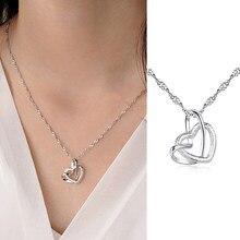 Corda coração pingente colar para mulher elegante senhora fosco prata cor clavícula gargantilha charme corrente moda jóias kan090