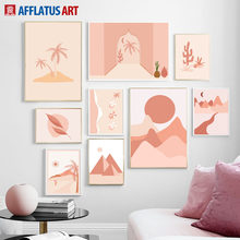 Abstract Mountain Sun Coconut Tree Wall Art Canvas Painting Nordic Posters And Prints Wall Pictures For Living Room Home Decor(China)
