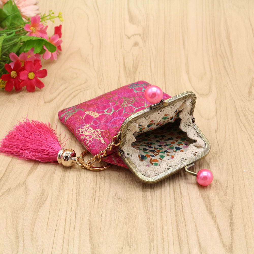 Handmade Origional Mini Purse LADY'S Small Card Package Hand Bag Clip Purse Mouth Gold Package