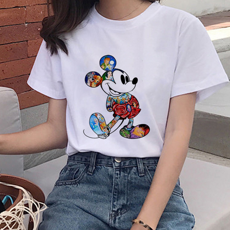 Mouse Cartoon Printing Harajuku T-shirt Women's Lion King Fashion Tshirt O-neck Short-sleeved Shirt White Shirt Women's Clothing