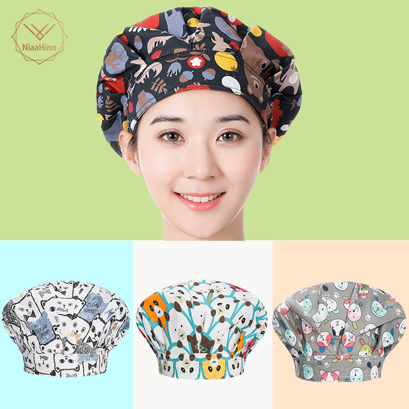 Kitchen Chef Hat Cook Cooking Hygienic Cap Food Cap Baking Breathable Smoke-proof Dust Men Women Work Hat Breathable Print Cap