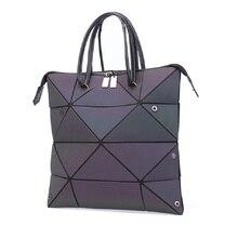 Luxury Female Designer Luminous Deformation Folding Diamond Handbag Geometric Rhombic Fashion Shoulder Bag for Women