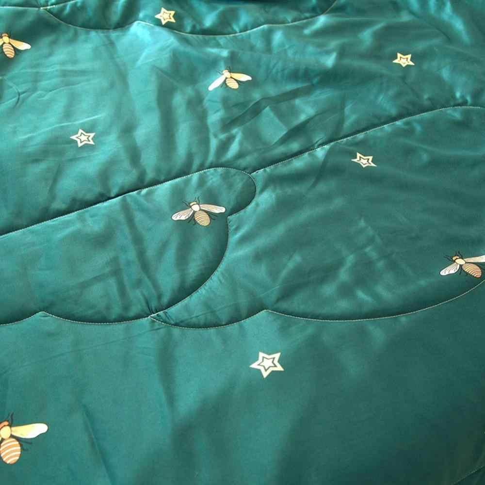 47 koyu yeşil arılar yıldız yorgan saten Polyester kumaş ipek hissi kapitone yorgan yaz battaniye e n e n e n e n e n e n e n e n e n e kraliçe boyutu