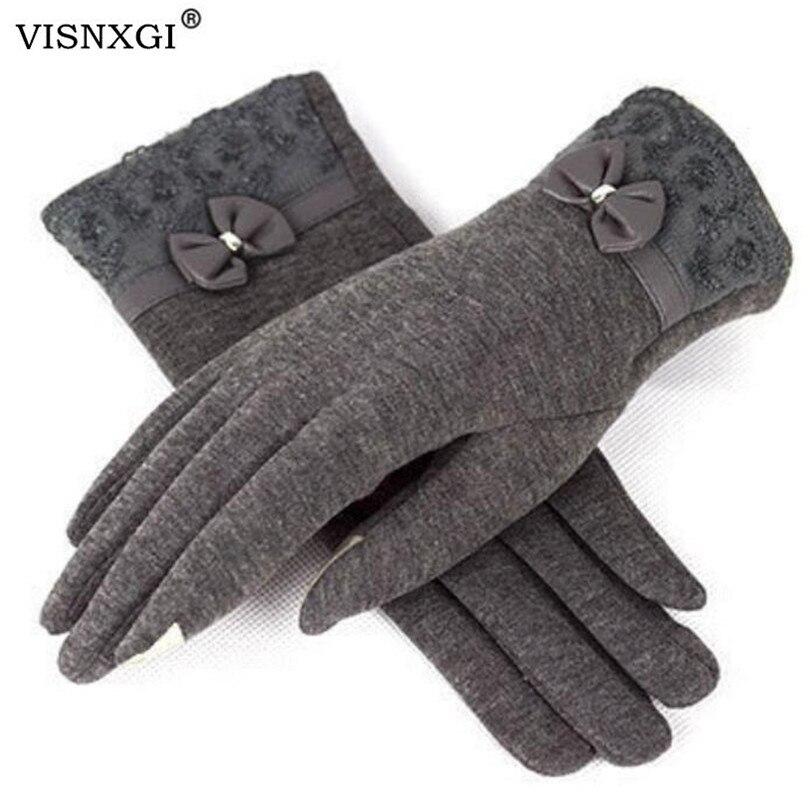 VISNXGI Women Winter Gloves Stretch Knitted Cashmere Keep Warm Gloves Mittens Winter Thicken Warm Accessories Wool Guantes Mujer