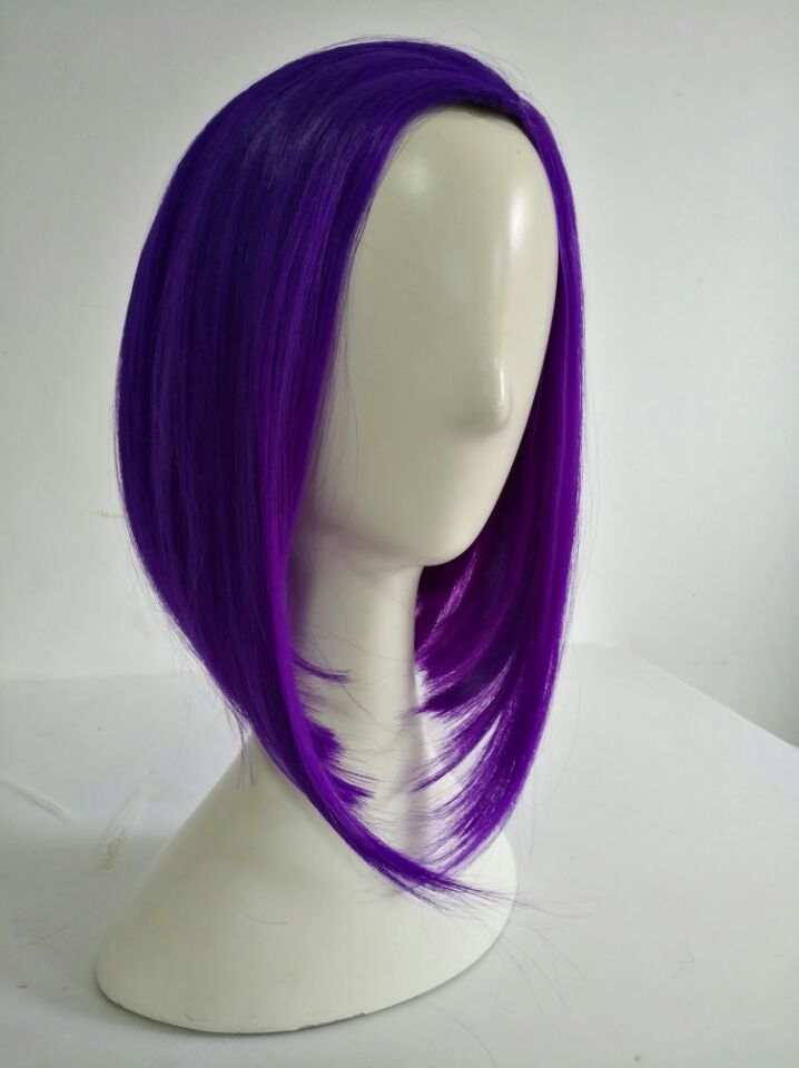 Anime Raven Cosplay Wigs 35cm Bob Purple Short Heat Resistant Synthetic Hair Perucas Cosplay Wig + Wig Cap