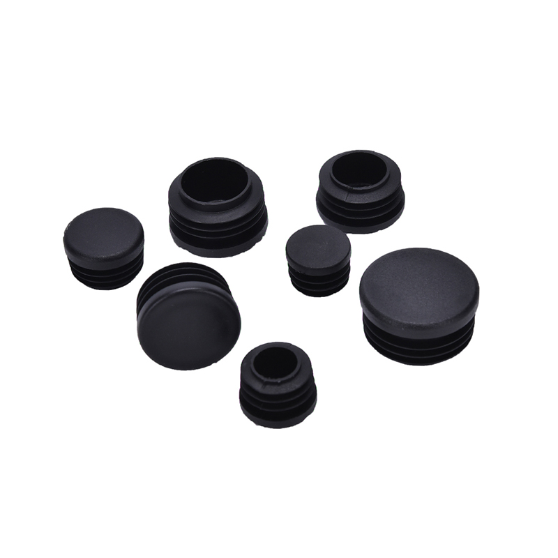 10Pcs/lot Plastic Furniture Leg Plug Black Round Steel Pipe End Caps Insert Plugs16-32mm Decorative Dust Cover