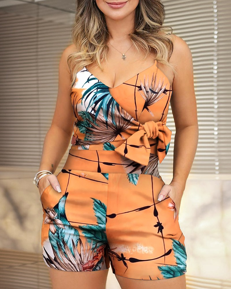 Spaghetti Strap Bowknot Design Print Rompers Women Playsuits Casual Summer One Piece Overalls
