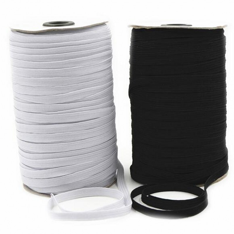 Hot Sell 182 M Sewing Elastic Band White Black High Elastic Fiat Rubber Band Waist Band Sewing Stretch Rope 5BB5629