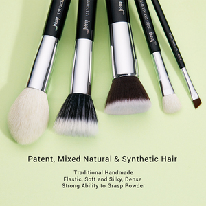 Image 2 - Jessup siyah/gümüş profesyonel makyaj fırça seti makyaj fırça araçları seti vakfı pudra fırçalar doğal sentetik saç