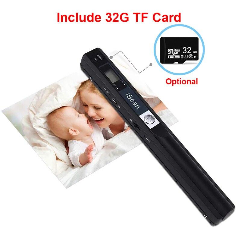 Портативный ручной сканер iScan для документов, сканер книг формата A4, Сканер цветных фотографий, 900DPI, поддержка форматов JPG с картой 32 Гб