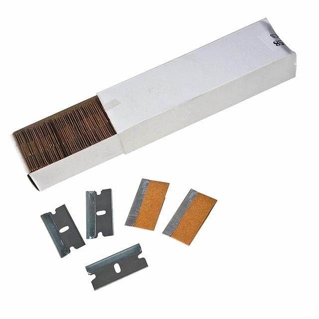 "EHDIS 100pcs 1.5 ""면도기 스크레이퍼 용 예비 면도날 탄소 섬유 스틸 블레이드 비닐 자동차 랩 도구 위도우 틴트 스티커 리무버"