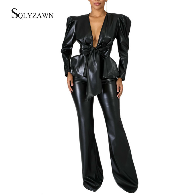 Vintage PU Leather Two Piece Set Puff Sleeve Ruffle Lace Up Belt Jacket Top + Pants Sexy Black Brown Matching Outfits Plus Size