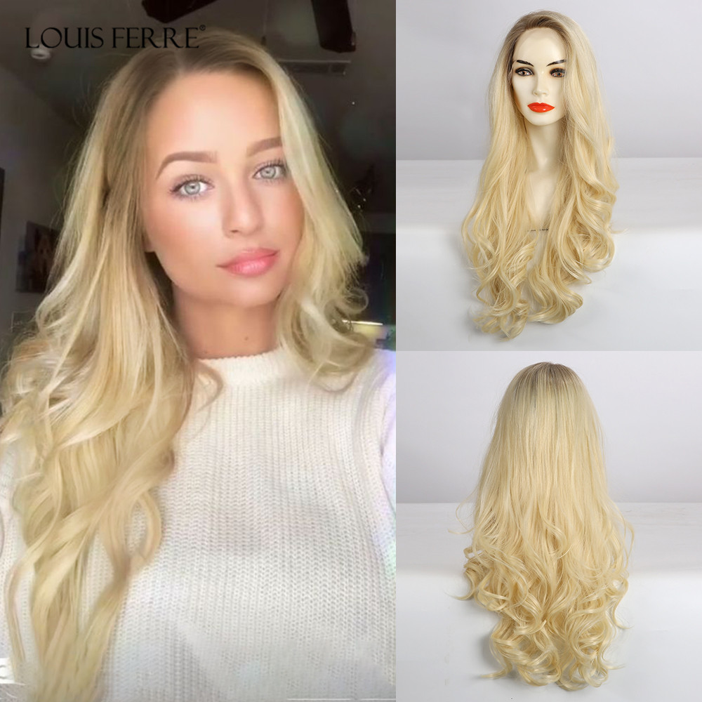 LOUIS FERRE Side Part Ombre Brown Light Blonde Wigs Long Wavy Heat Resistant Fiber Synthetic Hair Wig Lace Front Wigs for Woman